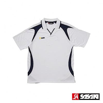 SASAKI 長效性吸濕排汗專業足球短衫-男-白/丈青