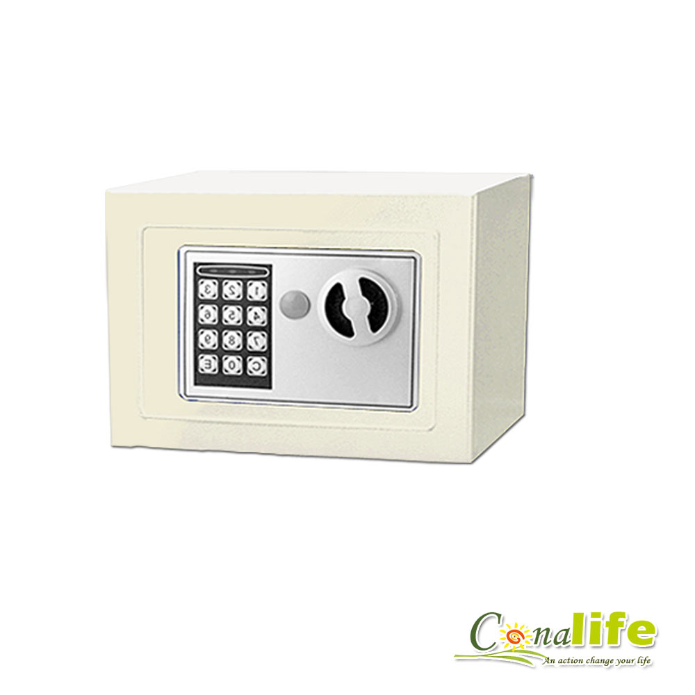 活動Conalife迷你電子防盜保險箱攜帶型-米白