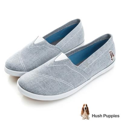 Hush Puppies 輕亮類牛仔咖啡紗懶人鞋-牛仔藍
