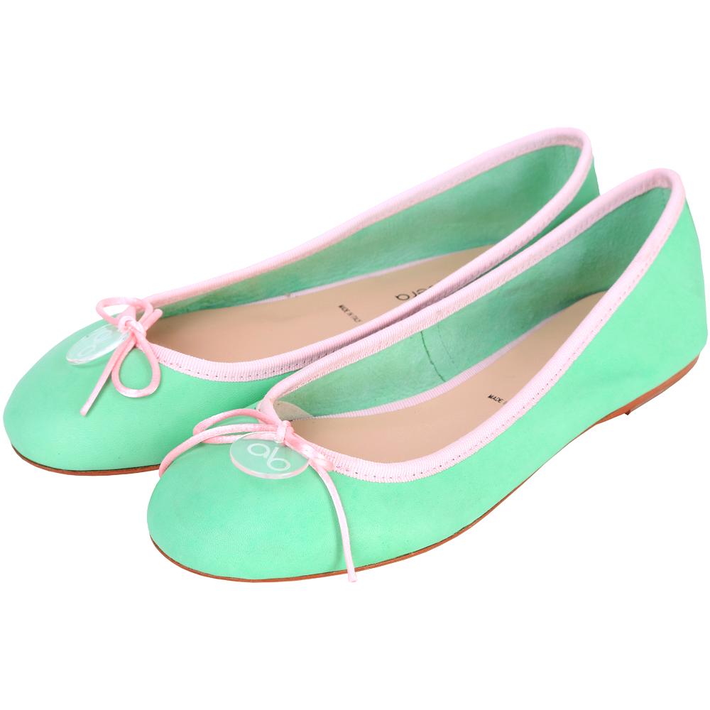 anna baiguera Annette 蝴蝶結拼色滾邊芭蕾舞鞋(薄荷綠x粉色)