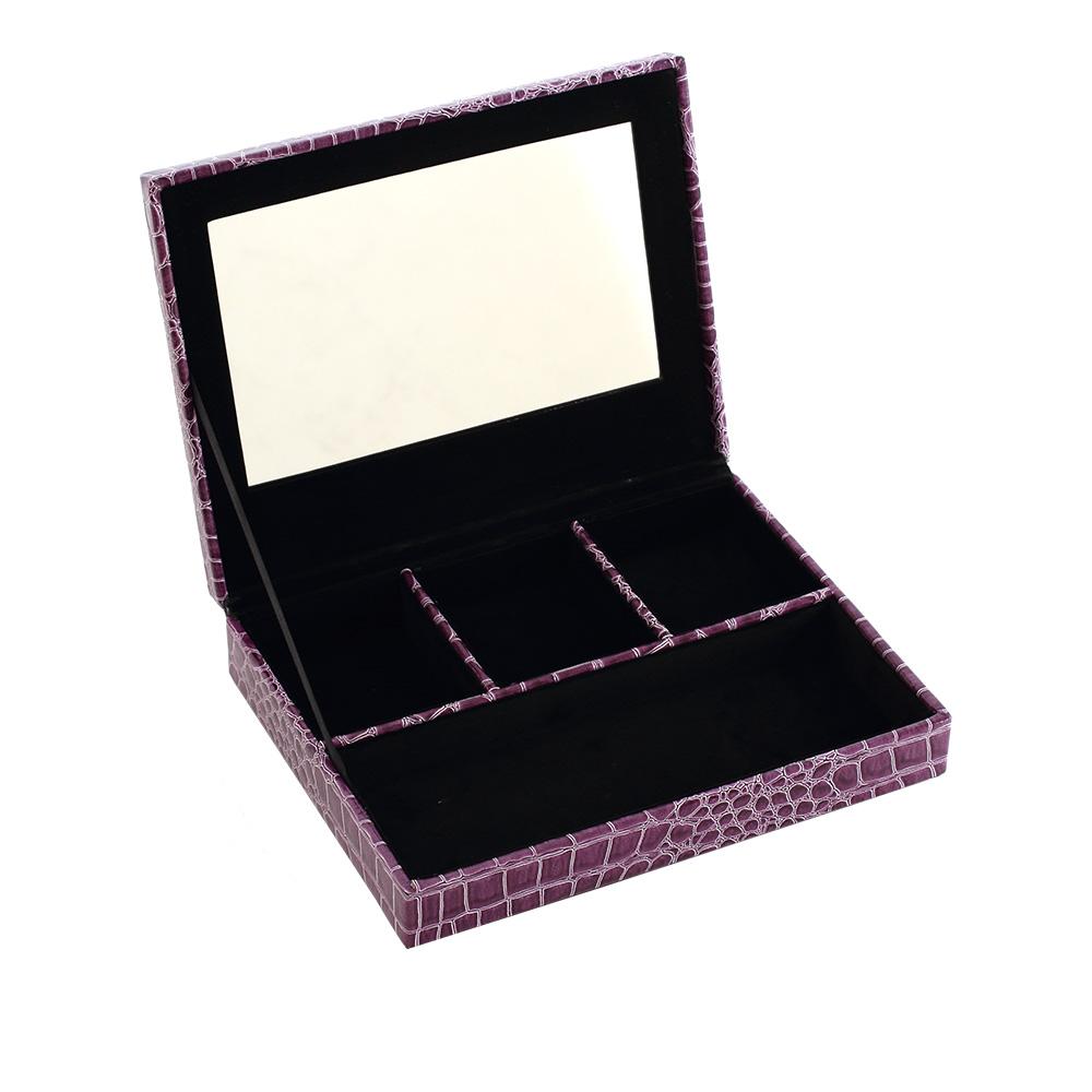 LOVEL 經典鱷魚紋皮革收納-防塵掀蓋4格置物盒(華麗紫/附鏡)