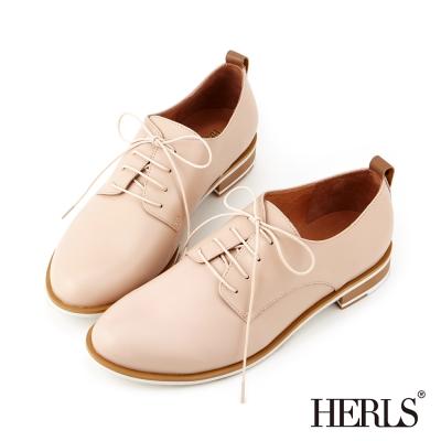 HERLS-全真皮 俐落綁帶德比牛津鞋-裸粉