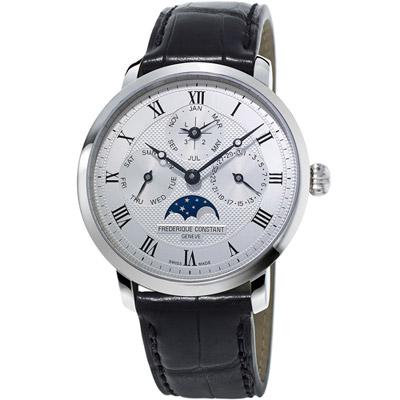 康斯登 CONSTANT Manufacture系列超薄萬年曆腕錶-黑色/42mm