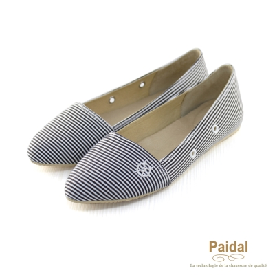 Paidal 經典海洋風橫條紋海錨尖頭娃娃鞋包鞋-黑
