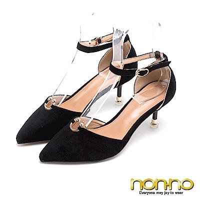 nonno C型金屬點綴 氣質踝帶尖頭高跟鞋 黑