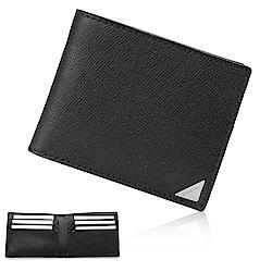 Calvin Klein 經典鐵牌LOGO防刮多卡短夾-黑色