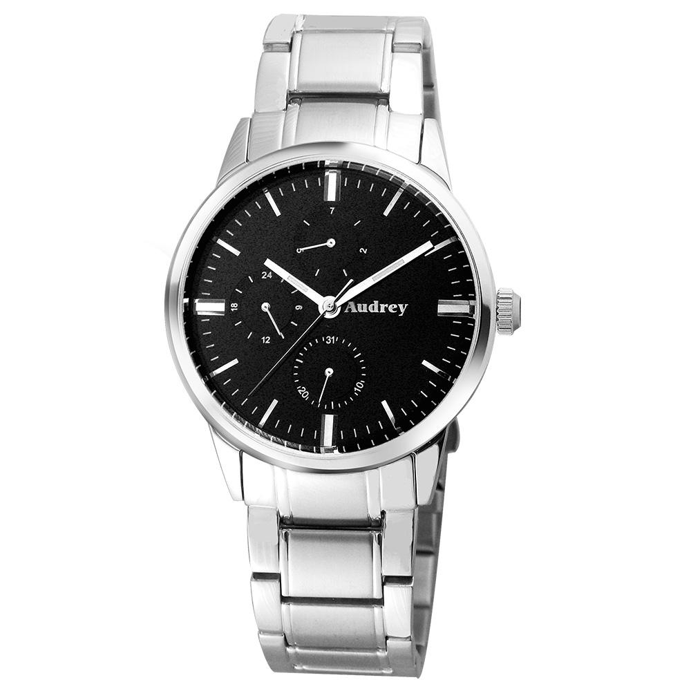 Audrey 歐德利 時尚三眼腕錶(AUM5656)黑面-41mm