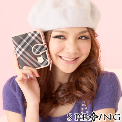 【SPRING】英格蘭格紋短夾-甜心粉(共兩色)