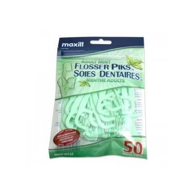 加拿大美適Maxill 超細滑高拉力扁線牙線棒-薄荷(50入)