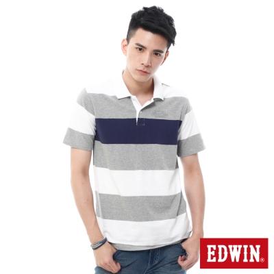 EDWIN 條紋磨毛POLO衫 -男-麻灰