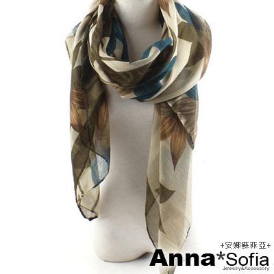 AnnaSofia-花綻絮葉-加大加寬披肩圍巾-綠系