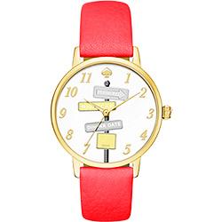 Kate Spade Merto 沒時間問路腕錶-金框x桃紅/34mm