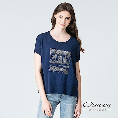 OUWEY歐薇 城市縫片圓領針織上衣(藍)