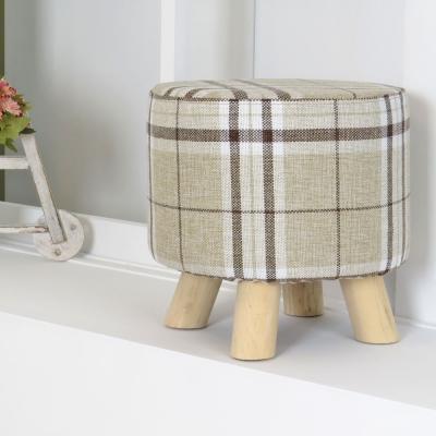 LOGIS- 迷你小胖凳 實木四腳圓椅 棉麻布套 穿鞋椅 矮凳
