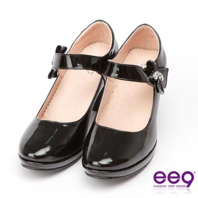 ee9氣質仕女-通勤私藏全真軟皮素面晶鑽繫帶防水台跟鞋-黑漆亮