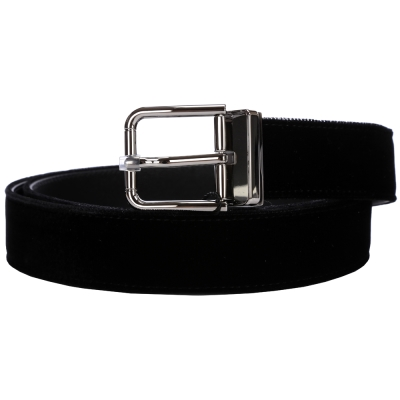 DOLCE & GABBANA 絨面牛皮設計皮帶(黑色)