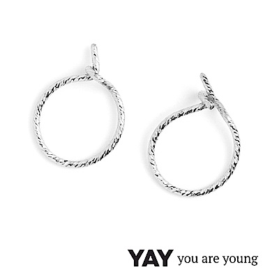 YAY You Are Young Fruit Dor 雅果迷你圓耳環 耳骨夾 銀色髮絲紋