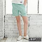 JEEP 女裝 夏日風情印花休閒短褲-湖綠色