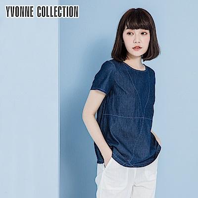 YVONNE牛仔布拼接縫線上衣