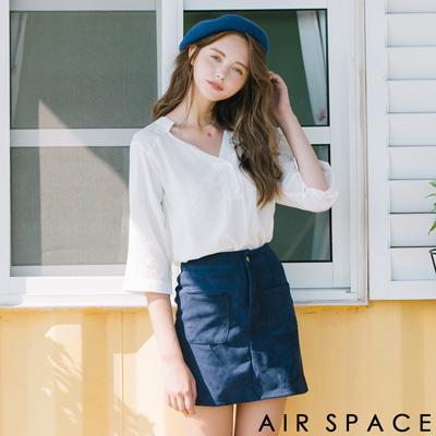AIR-SPACE-知性V領剪裁棉麻上衣-白
