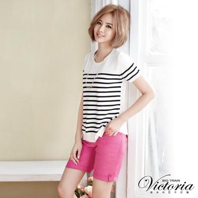 Victoria 中高腰棉麻色染捲口短褲-女-桃紅