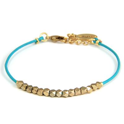 ETTIKA  金色串珠皮革手繩 (土耳其藍)