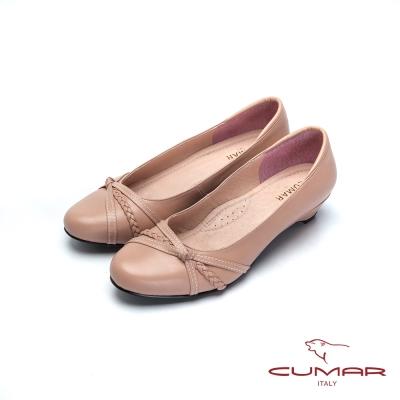 CUAMR嚴選舒適-上班族OL低跟鞋-粉紅