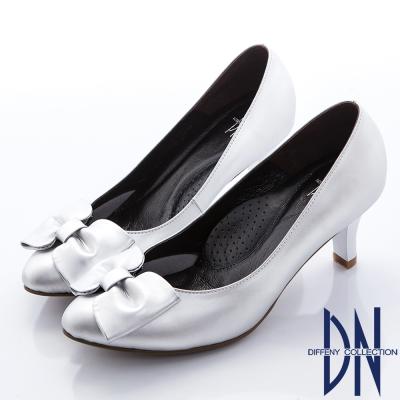 DN-典雅OL-簡約蝴蝶結霧面真皮跟鞋-銀