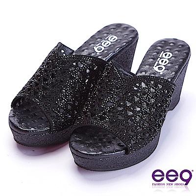ee9 極致美學鐳射鏤空露趾楔形跟拖鞋 黑色