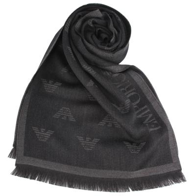 Emporio Armani 雙面老鷹LOGO羊毛圍巾-黑色