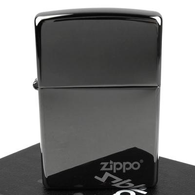 【ZIPPO】美系~LOGO字樣打火機~超質感Black ice黑冰色鏡面