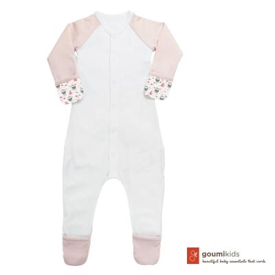 美國 GOUMIKIDS 有機棉嬰兒包腳連身衣 (小企鵝-粉色)
