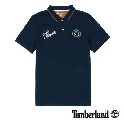 Timberland-男款深藍色英文刺繡布章短袖P