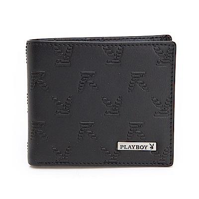 PLAYBOY- 零錢袋短夾 BRAND-NEW系列-雅痞黑