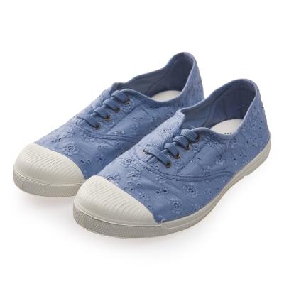 (女)Natural World 西班牙休閒鞋 印花4孔基本款*藍色