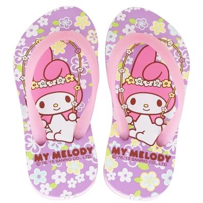 MyMelody 美樂蒂40週年限定鞋款夾腳海灘拖鞋童鞋-紫