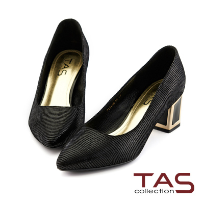 TAS-金屬滾邊後跟素面尖頭粗跟鞋-韓系黑