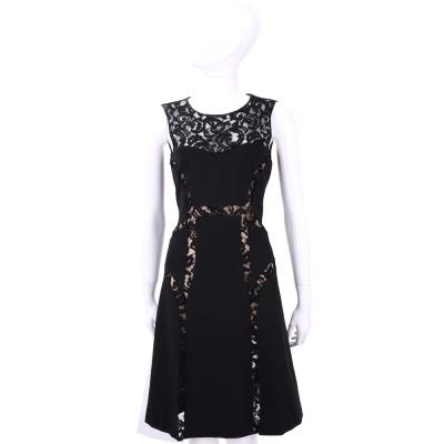 ALBERTA FERRETTI 黑色蕾絲拼接設計無袖洋裝
