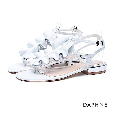 達芙妮DAPHNE 涼鞋-荷葉波浪T字夾腳平底涼鞋-白