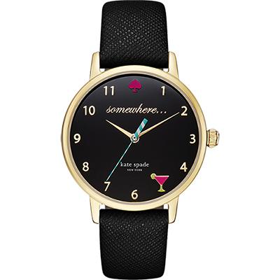 Kate Spade Merto 繽紛派對腕錶-黑x金框/34mm