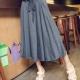 中大尺碼 垂墜感素色鬆緊抽繩綁帶大波浪長裙(