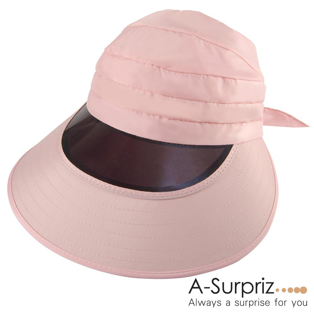 A-Surpriz 綁帶抗UV鏡面帽簷遮陽帽(粉)