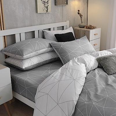 鴻宇HongYew 100%精梳棉 時空旅人 單人床包枕套兩件組