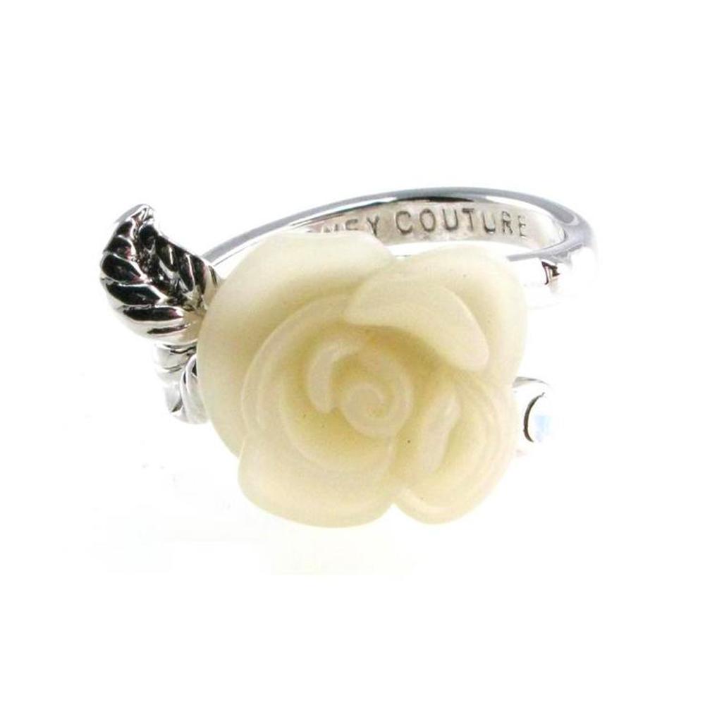 迪士尼 DISNEY COUTURE 白雪公主 白玫瑰花戒指 小朵 鑲白水晶 銀葉子