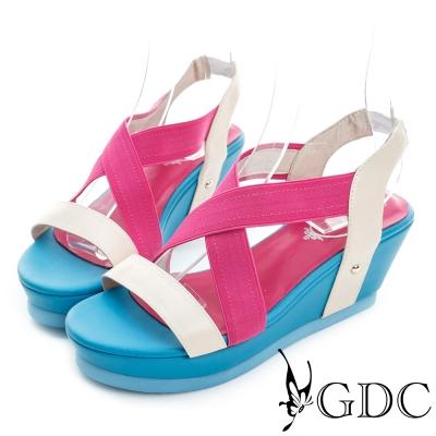 GDC-繽紛色彩交叉真皮楔型厚底編織涼鞋-桃紅色