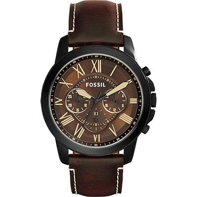 FOSSIL 都會雅爵三眼計時腕錶-IP黑/46mm