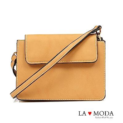 La Moda 率性輕甜出遊百搭肩背斜背小方包(米黃)