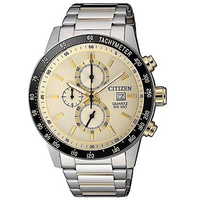 CITIZEN星辰  都會商務三眼視距儀石英腕錶 (AN3604-58A)- 金/44mm