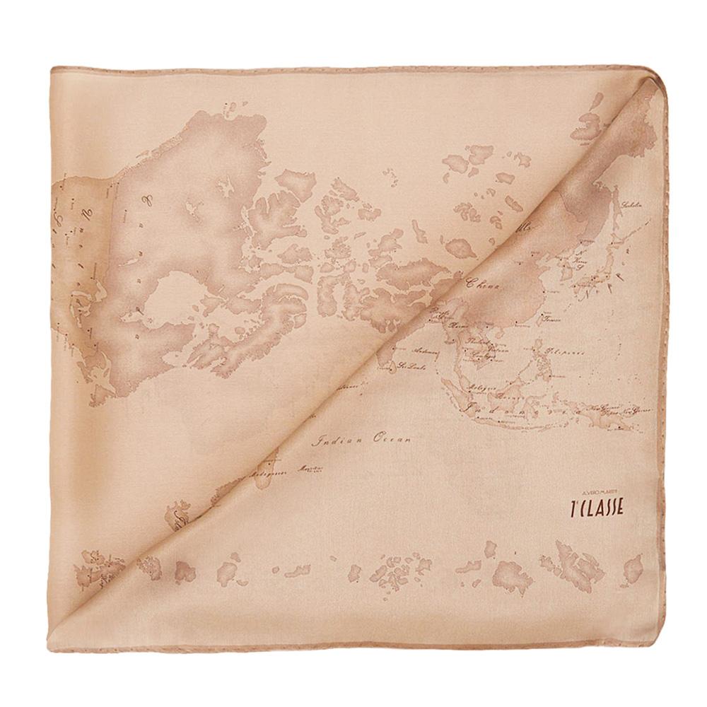 Alviero Martini 義大利地圖包 經典地圖絲巾/L-秋香杏色