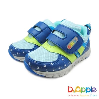 Dr. Apple 機能童鞋 經典格菱蘋果印刷休閒童鞋款 藍